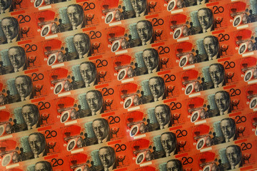 A sheet of uncut Australian twenty dollar notes are displayed at the Reserve Bank of Australia in Sydney