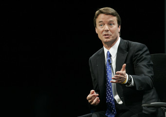 Democratic presidential candidate Edwards answers a question in Las Vegas