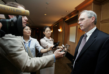 U.S. envoy to six-party talks Hill answers questions before he meets South Korea's chief presidential security advisor Song Min-soon in Seoul