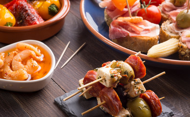 Spanish appetizers on slate