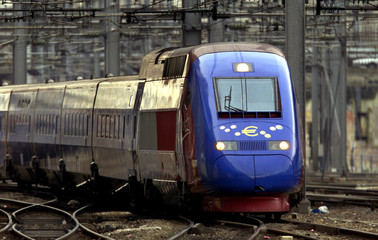 A French high-speed TGV Thalys Euro train, decorated with the euro symbol and coins, arrives for its..