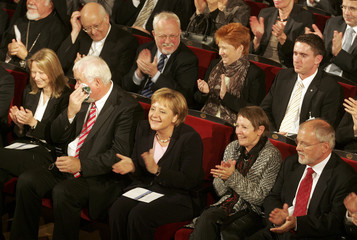 German top officials attend the festivities in Mecklenburger Staatstheater marking the 17th anniversary of the formal re-unification of Germany in Schwerin