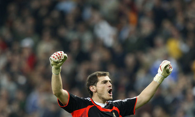 Real Madrid's goalkeeper Casillas celebrates their goal against Real Mallorca  during the Spanish First Division soccer match in Madrid