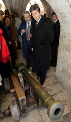 Bulgaria's President Georgi Parvanov watchs one of the ancient canyons during his visit to the ...