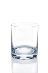 Empty transparent oldfashioned glass for whiskey and ice.