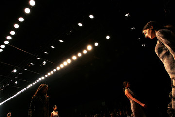 Models present creations as part of Luciano Soprani Fall/Winter women's collections during Milan Fashion Week
