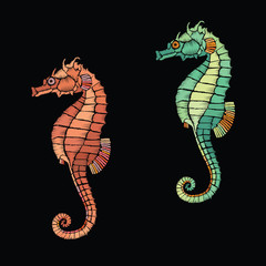 Sea Horse embroidery. Embroidered uderwater life. Vector vintage decorative element for embroidery, patches and sticker