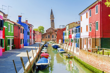 Picturesque streets of Burano Island in Venice Wall mural