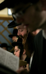 Ultra-Orthodox Jews pray for the anti-disengagement plan at the Rachel tomb in the West Bank city of ...
