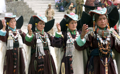 Members of the Ladakh minority group dance during the annual Ladakh festival in Leh in India's remot..