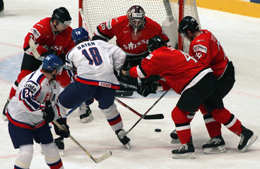 Satan of Slovakia shoots wide during the Group E Qualifying match against Switzerland at the Ice ...