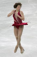 Slutskaya of Russia performs her short program during the Figure skating Grand Prix in Moscow.