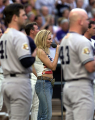 JEWEL SINGS THE NATIONAL ANTHEM PRIOR TO WORLD SERIES GAME 1.