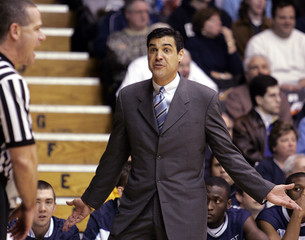 Villanova coach Jay Wright questions a call against Georgetown in Philadelphia