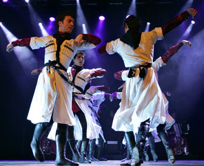 The Kuban Dance Troupe puts up a Circassian folklore performance in Amman