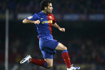 Barcelona's Rafael Marquez celebrates a goal against Mallorca during their Spanish King's Cup semi-final soccer match at Camp Nou stadium in Barcelona
