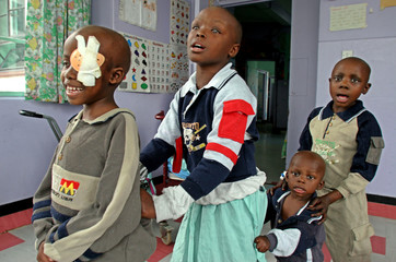 Kenyan children with sight problems sing and dance at Kenyatta National hospital during the Day of ...