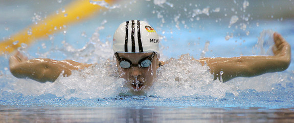 Mehlhorn swims in the 100 metre butterfly at the German swimming championship in Berlin