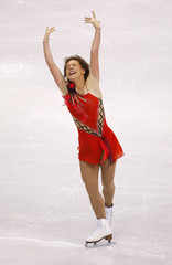 Leonova from Russia performs during the Ladies Free Skating portion of the 2009 ISU World Figure Skating Championships in Los Angeles