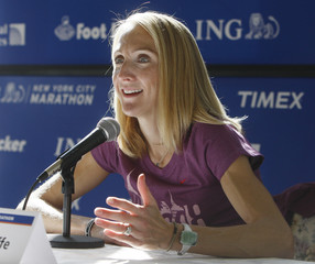 World marathon record holder Radcliffe of Britain speaks during news conference in New York