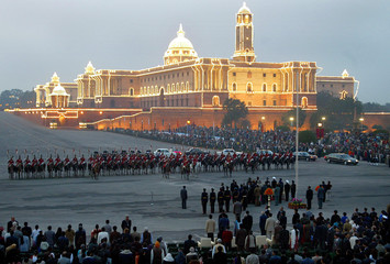 SPECTATORS ATTEND THE BEATING THE RETREAT CEREMONY IN NEW DELHI.