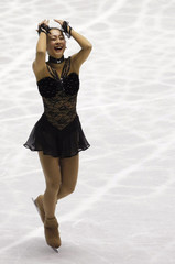 Japan's Mao Asada reacts after the free event of ISU Grand Prix of Figure Skating in Tokyo
