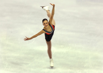 Meier of Switzerland performs in Ladies free skating program at European figure skating Championships in Lyon