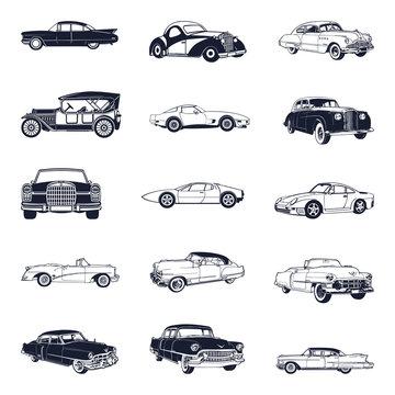 set of old vintage car isolated on white background