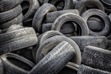 old tires used worn for recycling