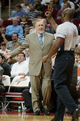 Sacramento Kings head coach Rick Adelman argues an official's call in the first half as the Kings met the Houston Rockets in Houston