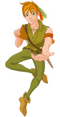 Poster Fairytale World Boy Wearing Peter Pan Costume