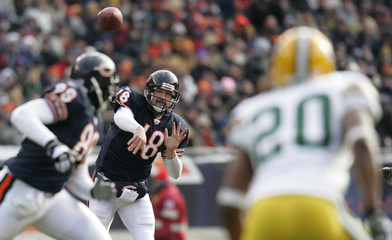 Chicago Bears quarterback Orton tries to make a pass against Green Bay in Chicago