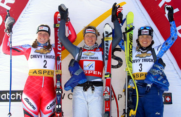 TOP THREE FINISHERS OF ON PODIUM OF WOMENS WORLD CUP SUPER G.