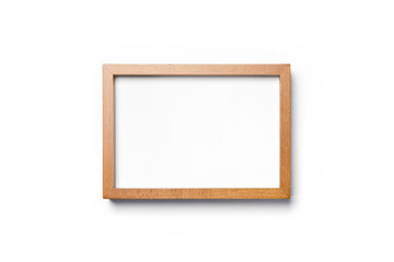 A oak wood photo(picture) frame) isolated white.