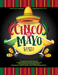 Cinco De Mayo lettering and sombrero for celebration of the Mexican holiday on the fifth (Cinco) of May (Mayo). AI 10 vector.
