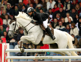 United Arab Emirates' Mohammed Al Kumaiti clears a jump on Al Mutawakel during the 2nd qualification for the FEI World Showjumping Championship at the World Equestrian Games in Aachen