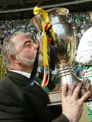 LA LOUVIERE CLUB PRESIDENT FILIPPO GAONA KISSES THE TROPHY AFTERBELGIAN SOCCER CUP FINAL AGAINST ...