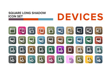 Flat design devices icons with long shadow