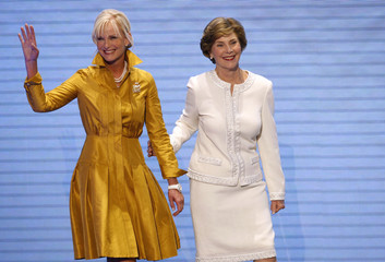 Cindy McCain and first lady Laura Bush appear together at the 2008 Republican National Convention in St. Paul