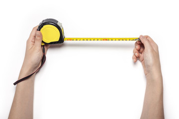 woman hand hold a measuring tape isolated white