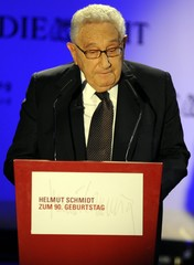 U.S. former Secretary of State Henry Kissinger speaks during a celebration of the birthday of former German chancellor Helmut Schmidt, organised by Die Zeit newspaper in Hamburg