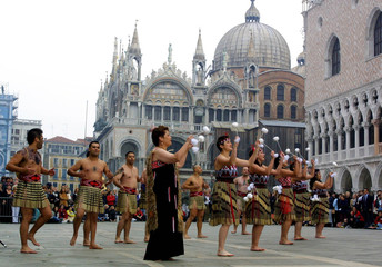 NEW ZEALAND'S MAORI GROUP PERFORMS DURING THE VENICE INTERNATIONAL ART EXHIBITION.