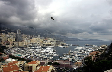 A bird flies above Monaco harbour, Monte Carlo, March, 26, 2005. [Monaco's Prince Rainier remains on..