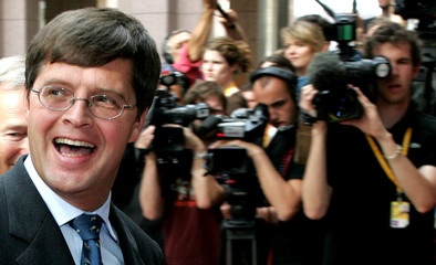 DUTCH PRIME MINISTER BALKENENDEARRIVES AT A EU SUMMIT IN BRUSSELS.