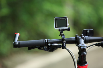 action camera on mountain bike