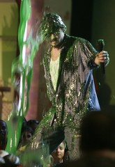 Actor Johnny Depp gets slimed at the 18th Nickelodeon Kids Choice Awards in Los Angeles.
