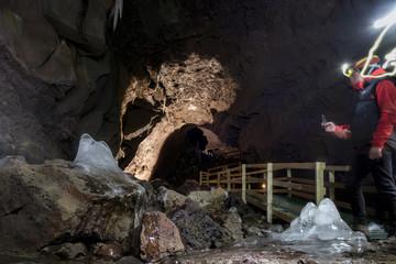Vidgelmir lava tube situated in the Hallmundarhraun lava field in west Iceland