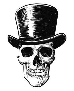 Skull in tall hat