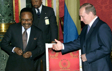 RUSSIAN PRESIDENT PUTIN WELCOMES GABON LEADER BONGO IN MOSCOW.