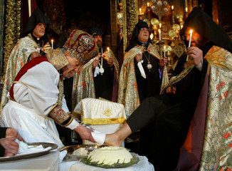 ARMENIAN CHRISTIAN ORTHODOX CLERICS PERFORM A FOOTWASHING CEREMONY INJERUSALEM.